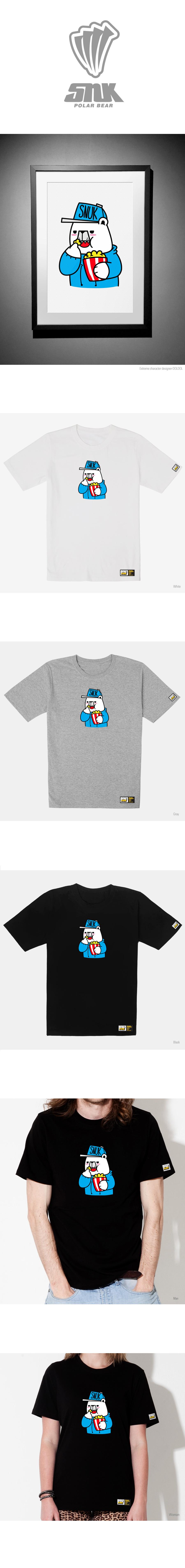 돌돌(DOLDOL) SNUK_T-shirts_28 북극곰 스노우보드 선수 스누크 익스트림 캐릭터 그래픽 티셔츠
